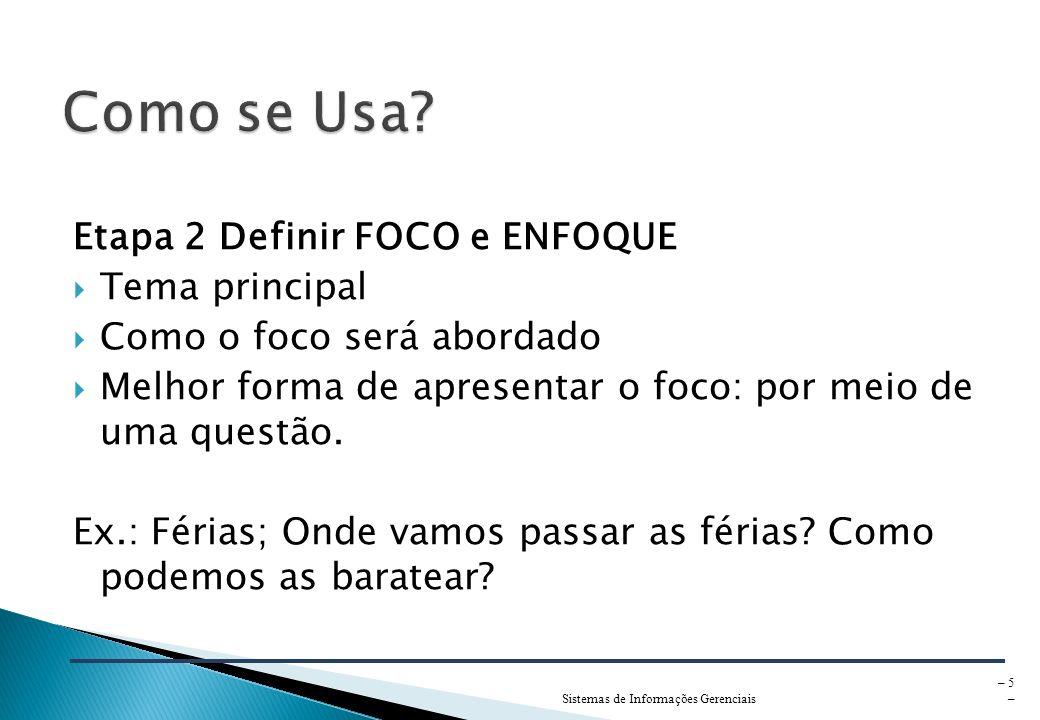 Como se Usa Etapa 2 Definir FOCO e ENFOQUE Tema principal