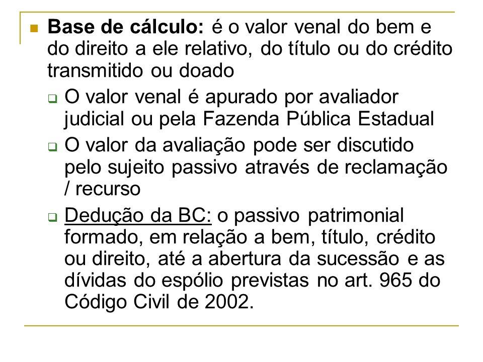 Base de cálculo: é o valor venal do bem e do direito a ele relativo, do título ou do crédito transmitido ou doado