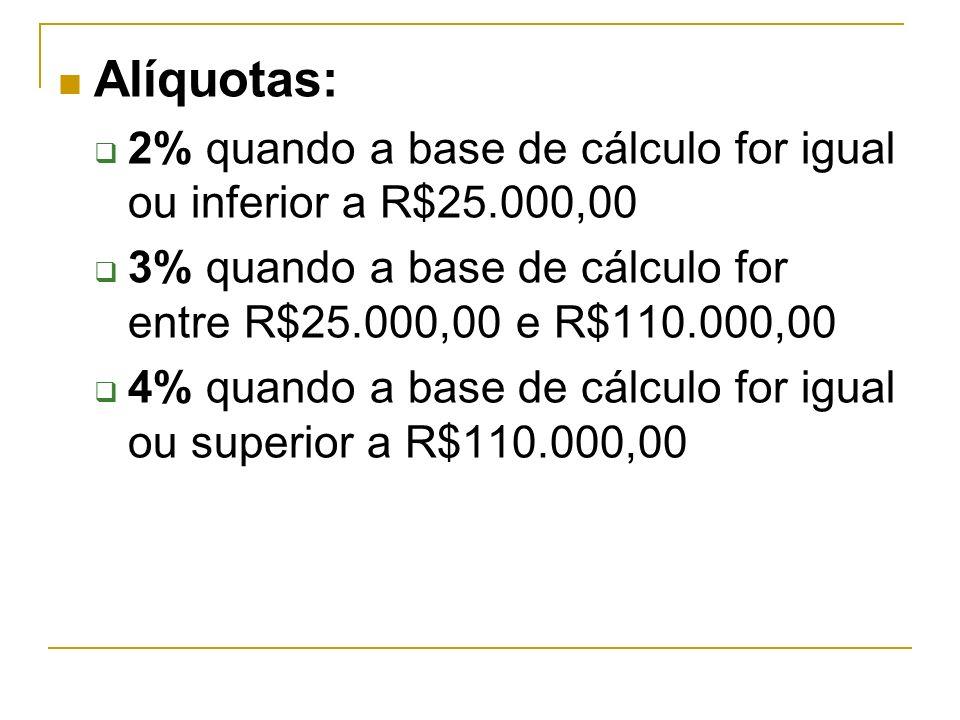 Alíquotas: 2% quando a base de cálculo for igual ou inferior a R$25.000,00. 3% quando a base de cálculo for entre R$25.000,00 e R$110.000,00.