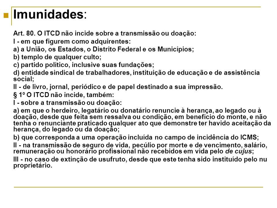 Imunidades: Art. 80. O ITCD não incide sobre a transmissão ou doação: