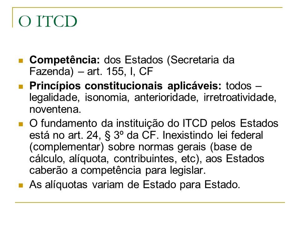 O ITCD Competência: dos Estados (Secretaria da Fazenda) – art. 155, I, CF.