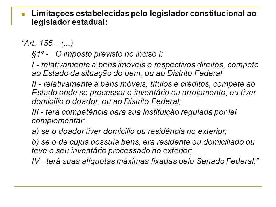 Limitações estabelecidas pelo legislador constitucional ao legislador estadual: