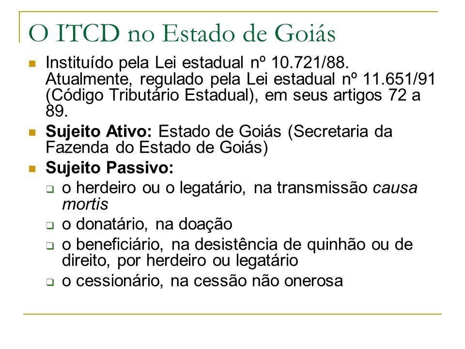 O ITCD no Estado de Goiás