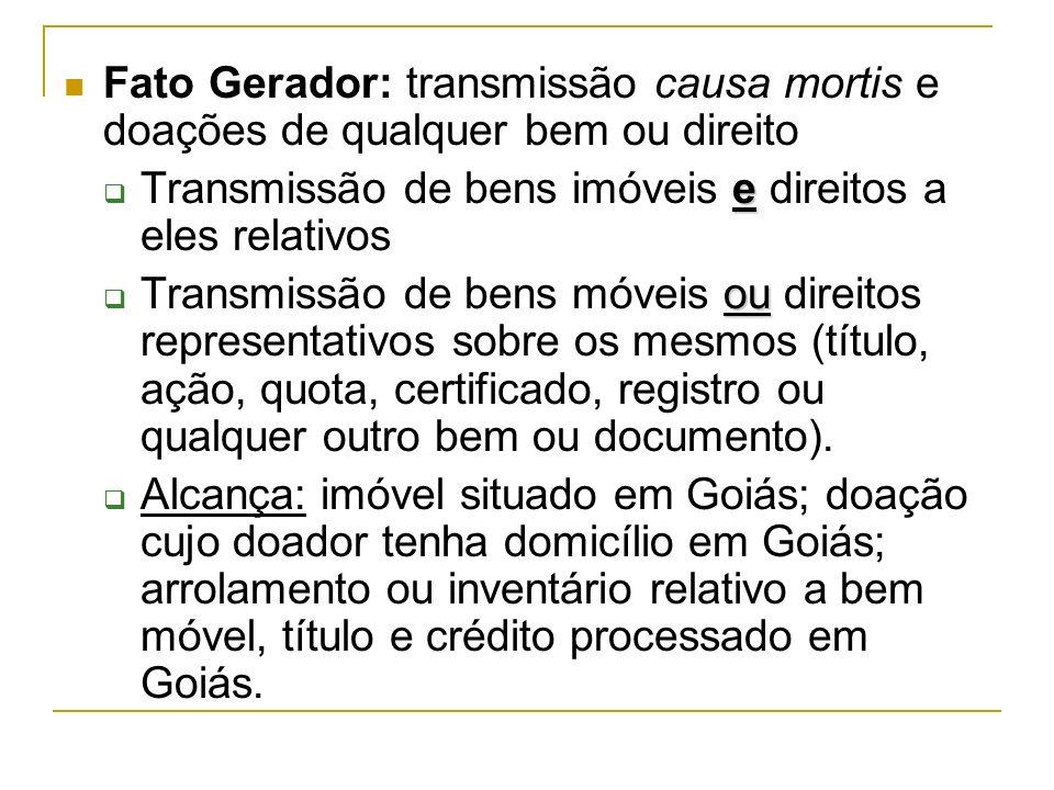 Fato Gerador: transmissão causa mortis e doações de qualquer bem ou direito