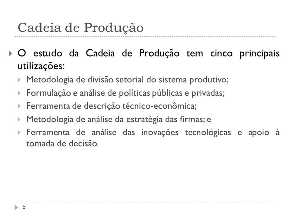 Cadeia de Produção O estudo da Cadeia de Produção tem cinco principais utilizações: Metodologia de divisão setorial do sistema produtivo;