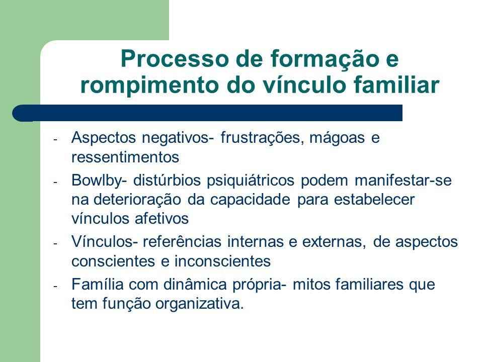 Processo de formação e rompimento do vínculo familiar