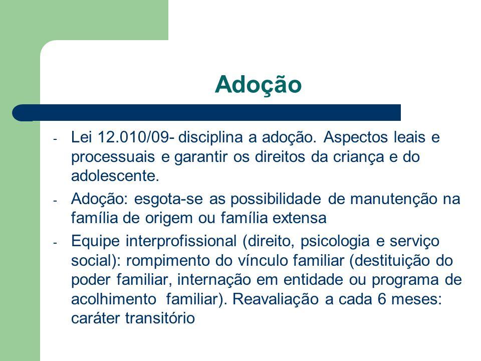 Adoção Lei 12.010/09- disciplina a adoção. Aspectos leais e processuais e garantir os direitos da criança e do adolescente.