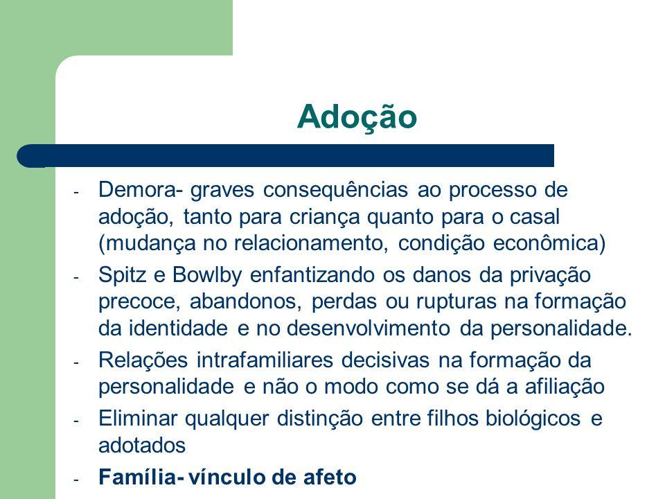AdoçãoDemora- graves consequências ao processo de adoção, tanto para criança quanto para o casal (mudança no relacionamento, condição econômica)