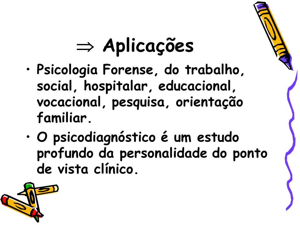  Aplicações Psicologia Forense, do trabalho, social, hospitalar, educacional, vocacional, pesquisa, orientação familiar.