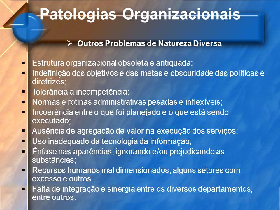 Patologias Organizacionais Outros Problemas de Natureza Diversa