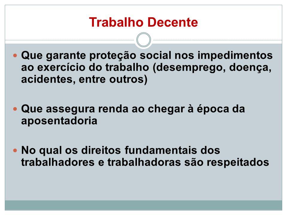 Trabalho DecenteQue garante proteção social nos impedimentos ao exercício do trabalho (desemprego, doença, acidentes, entre outros)