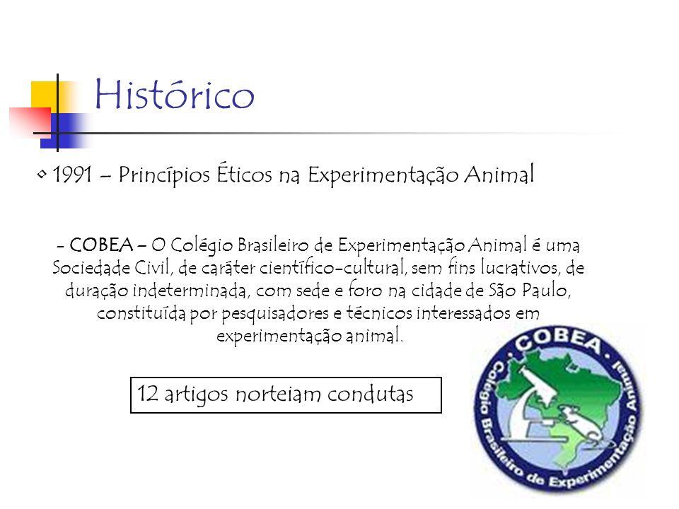 Histórico 1991 – Princípios Éticos na Experimentação Animal