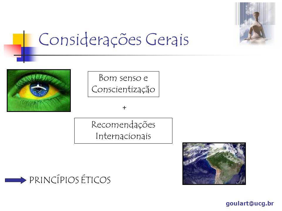 Considerações Gerais Bom senso e Conscientização +