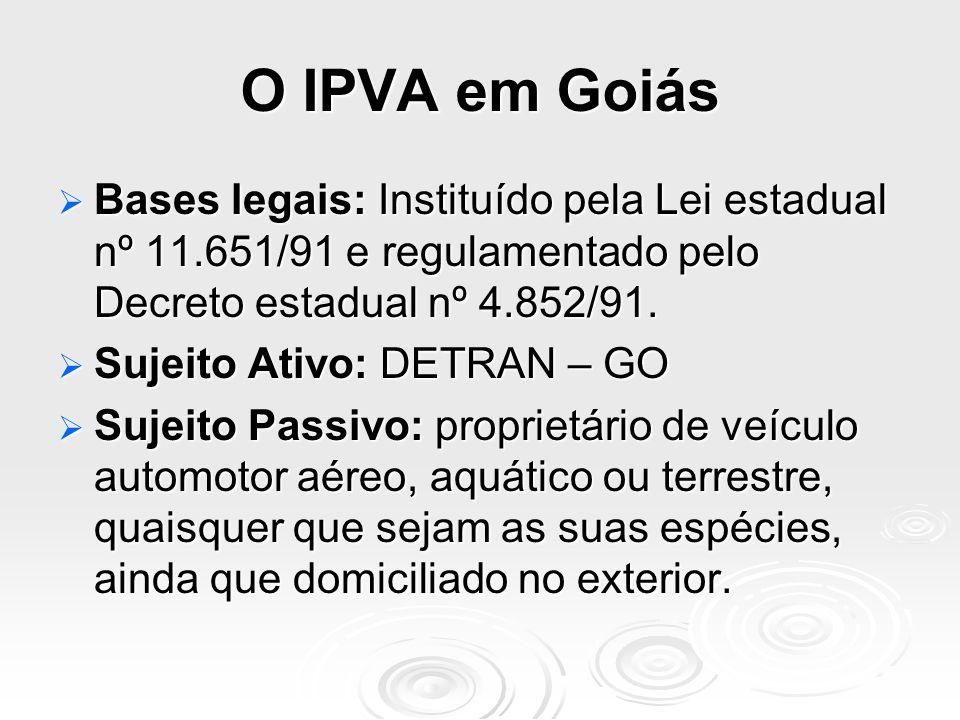 O IPVA em Goiás Bases legais: Instituído pela Lei estadual nº 11.651/91 e regulamentado pelo Decreto estadual nº 4.852/91.