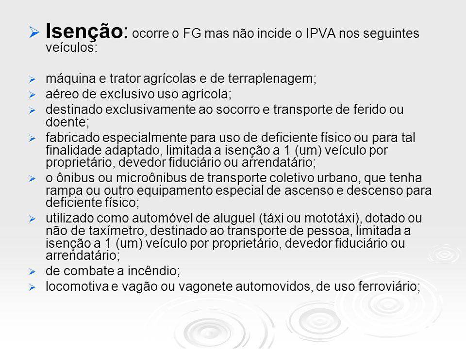 Isenção: ocorre o FG mas não incide o IPVA nos seguintes veículos: