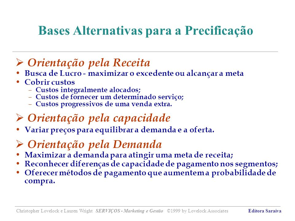 Bases Alternativas para a Precificação