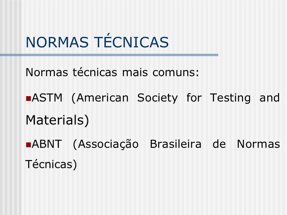 NORMAS TÉCNICAS Normas técnicas mais comuns:
