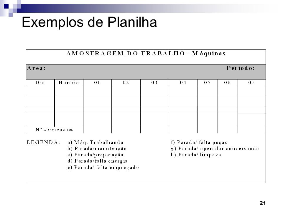 Exemplos de Planilha