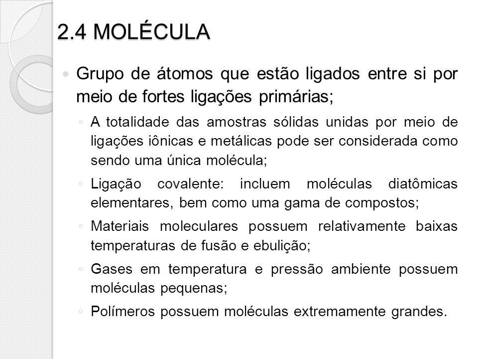 2.4 MOLÉCULA Grupo de átomos que estão ligados entre si por meio de fortes ligações primárias;