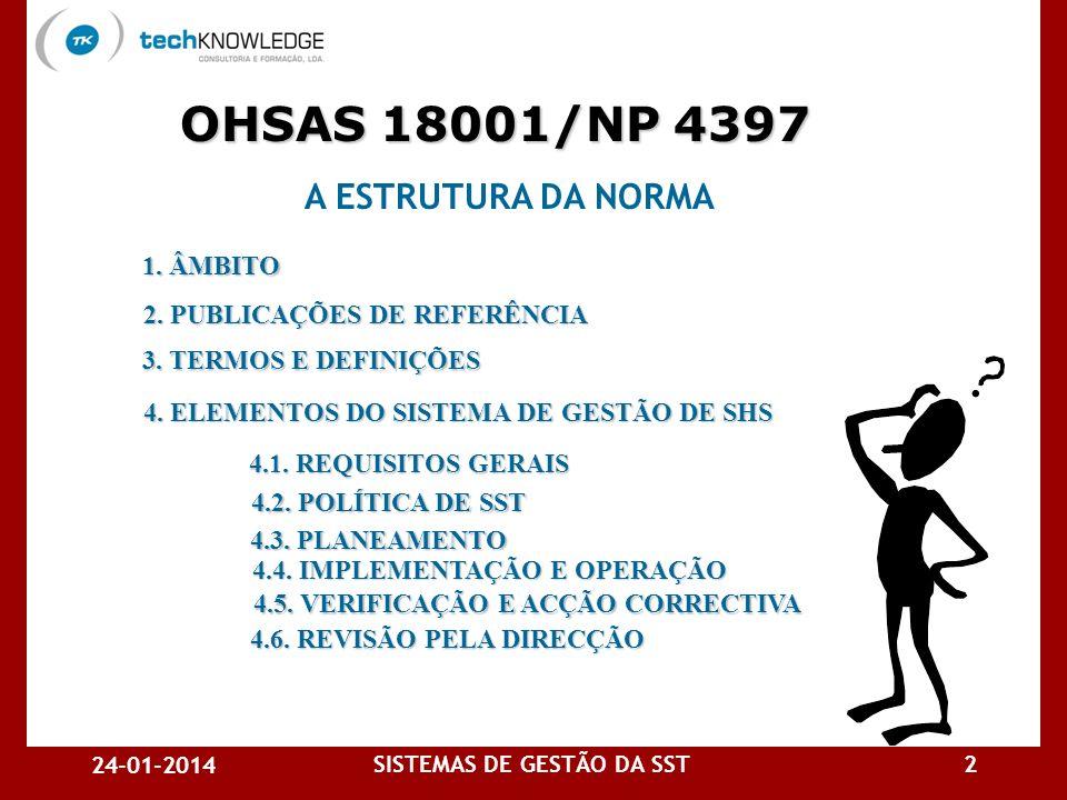 OHSAS 18001/NP 4397 A ESTRUTURA DA NORMA 1. ÂMBITO