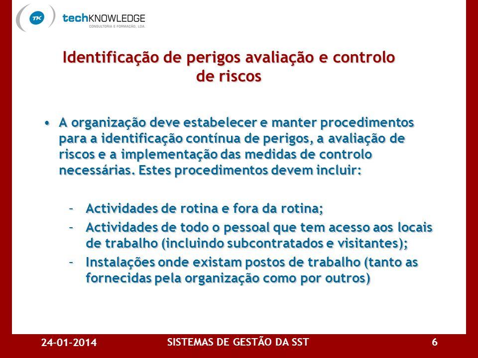 Identificação de perigos avaliação e controlo de riscos