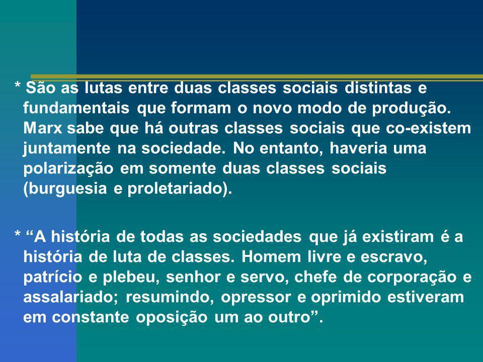 * São as lutas entre duas classes sociais distintas e fundamentais que formam o novo modo de produção. Marx sabe que há outras classes sociais que co-existem juntamente na sociedade. No entanto, haveria uma polarização em somente duas classes sociais (burguesia e proletariado).