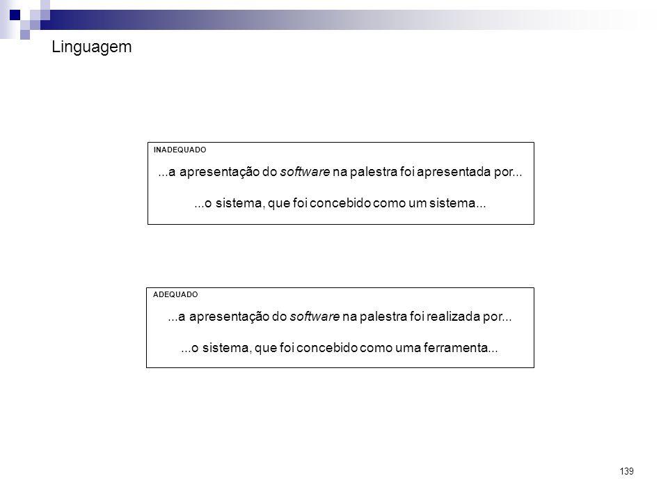 Linguagem INADEQUADO. ...a apresentação do software na palestra foi apresentada por... ...o sistema, que foi concebido como um sistema...