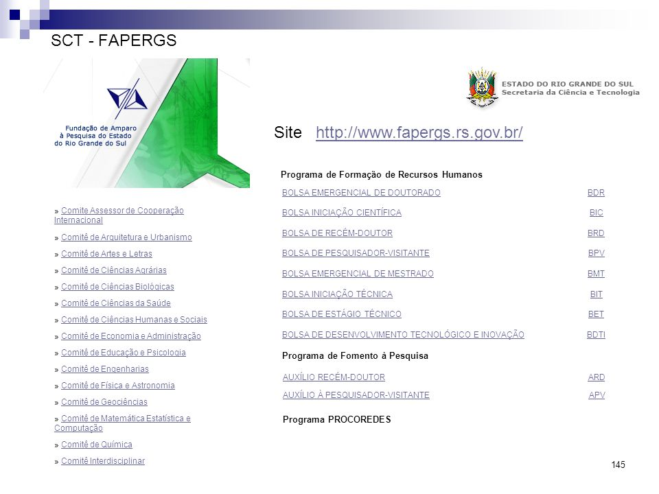 Site http://www.fapergs.rs.gov.br/