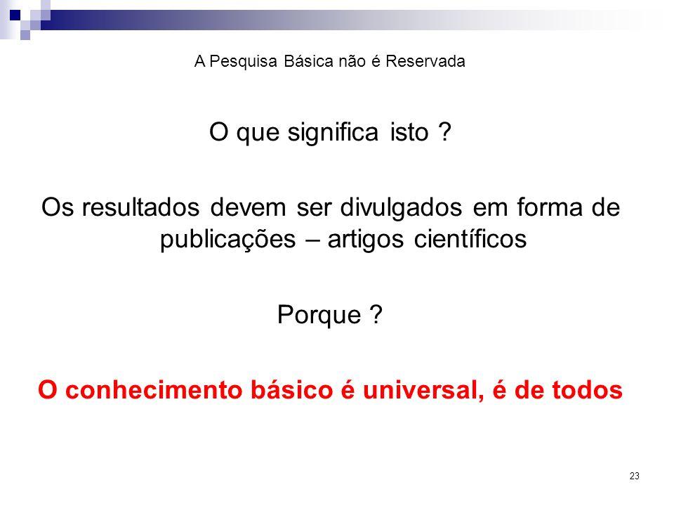 O conhecimento básico é universal, é de todos