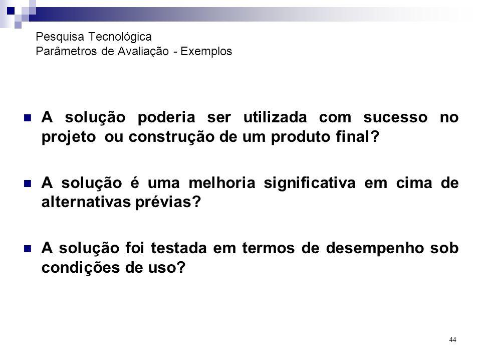 Pesquisa Tecnológica Parâmetros de Avaliação - Exemplos