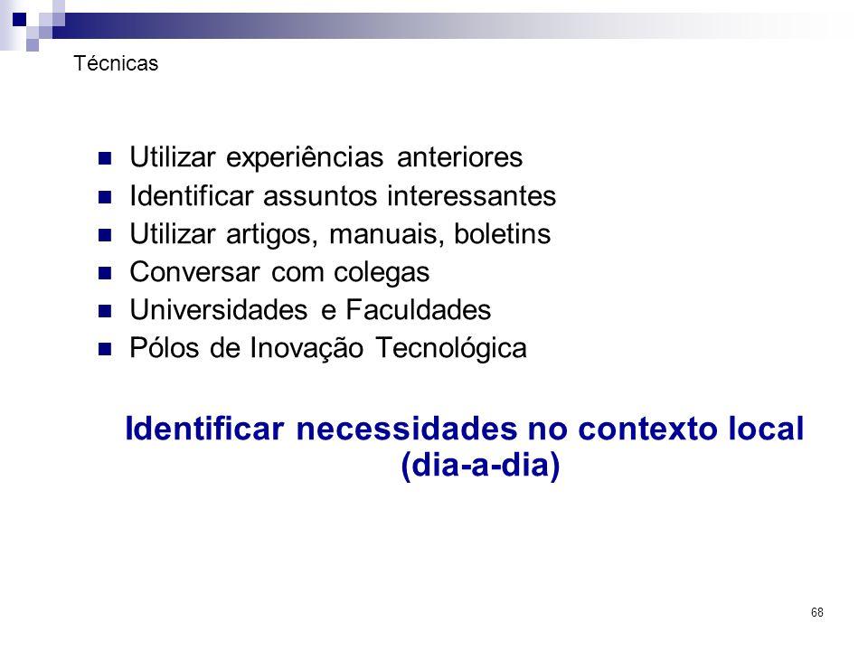 Identificar necessidades no contexto local (dia-a-dia)