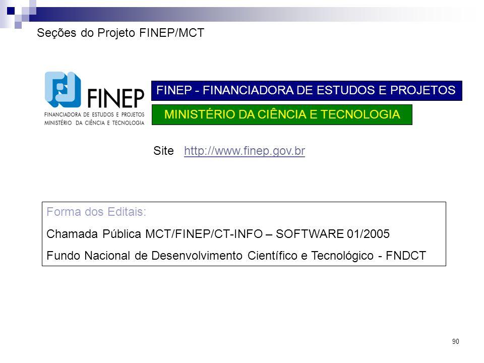 Seções do Projeto FINEP/MCT