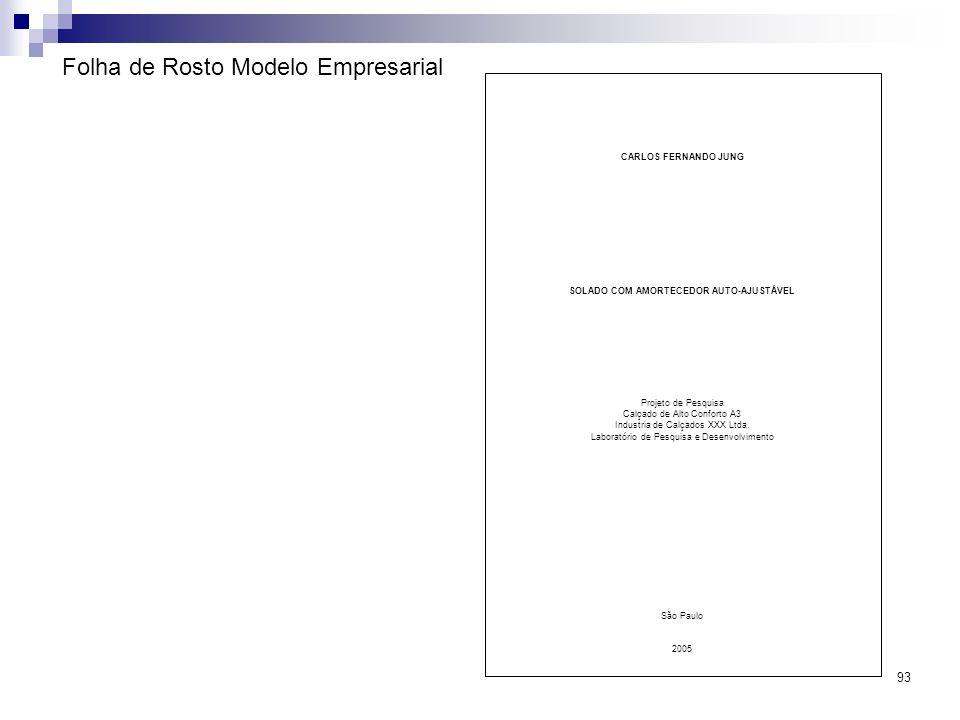Folha de Rosto Modelo Empresarial