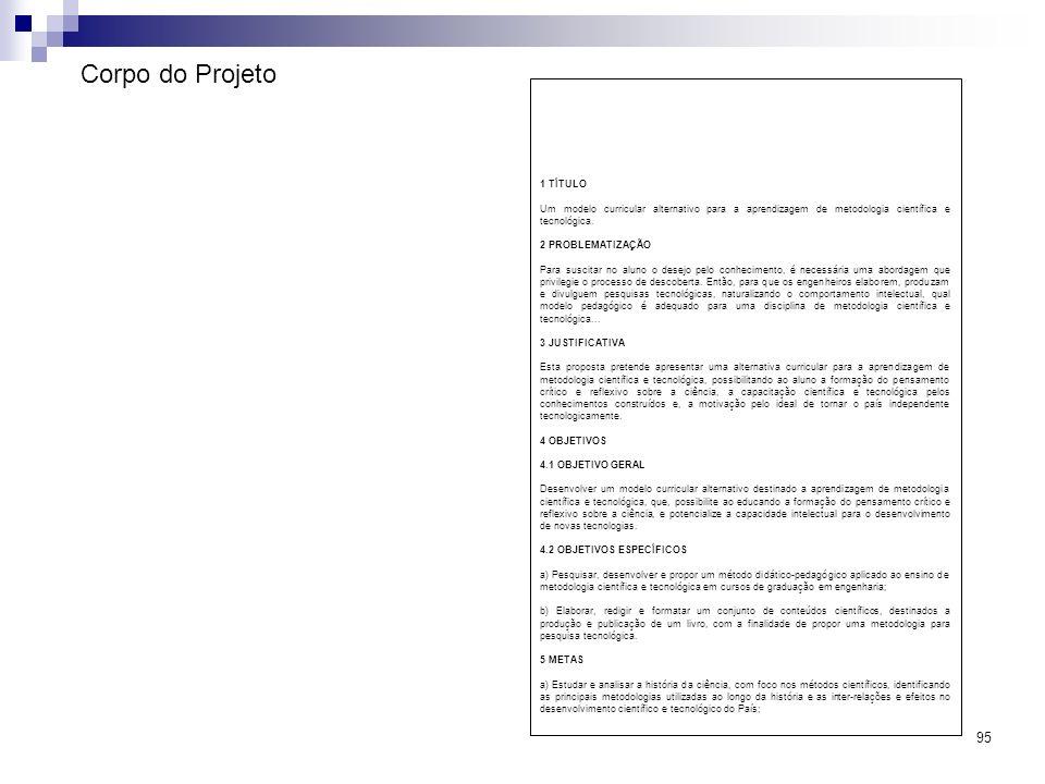 Corpo do Projeto 1 TÍTULO