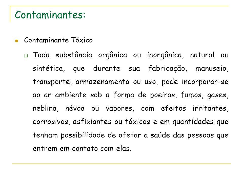 Contaminantes: Contaminante Tóxico.