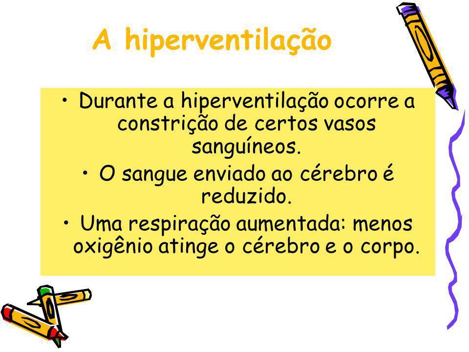 A hiperventilação Durante a hiperventilação ocorre a constrição de certos vasos sanguíneos. O sangue enviado ao cérebro é reduzido.