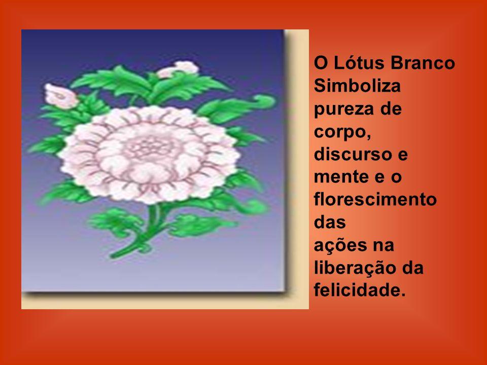 O Lótus Branco Simboliza pureza de corpo, discurso e mente e o florescimento das. ações na liberação da felicidade.