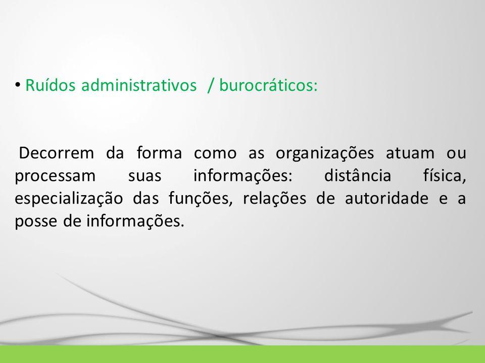 Ruídos administrativos / burocráticos: