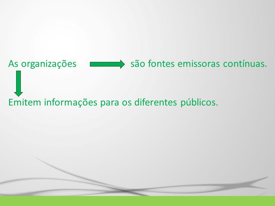 As organizações são fontes emissoras contínuas.