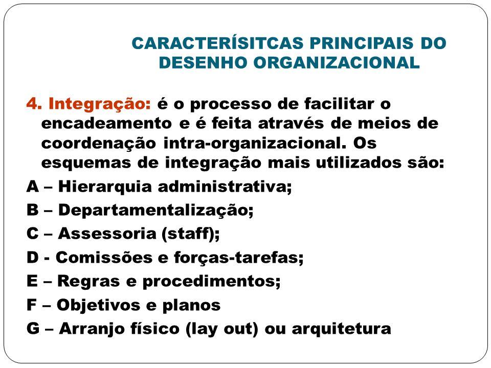 CARACTERÍSITCAS PRINCIPAIS DO DESENHO ORGANIZACIONAL