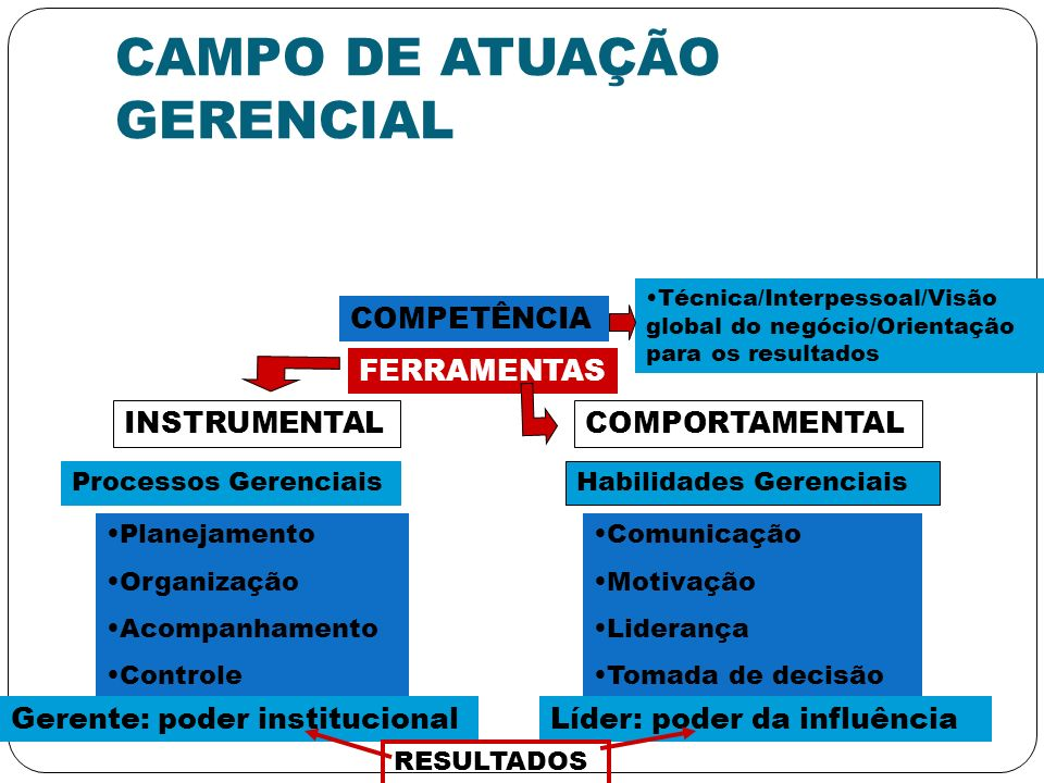 CAMPO DE ATUAÇÃO GERENCIAL