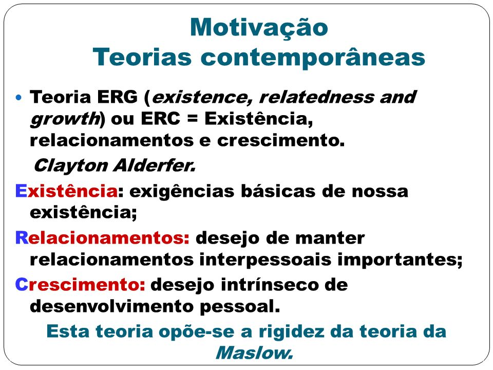 Motivação Teorias contemporâneas