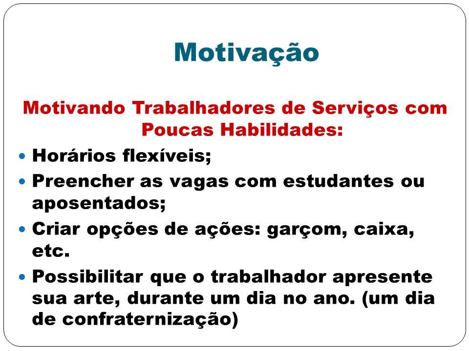 Motivando Trabalhadores de Serviços com Poucas Habilidades: