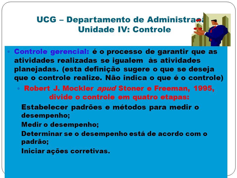 UCG – Departamento de Administração Unidade IV: Controle