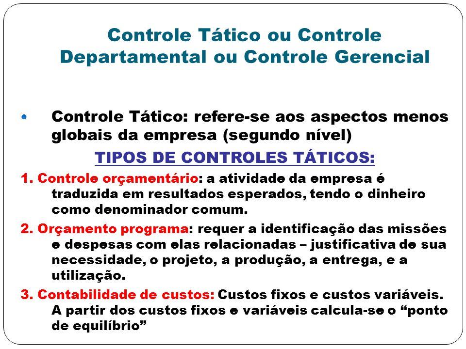 Controle Tático ou Controle Departamental ou Controle Gerencial