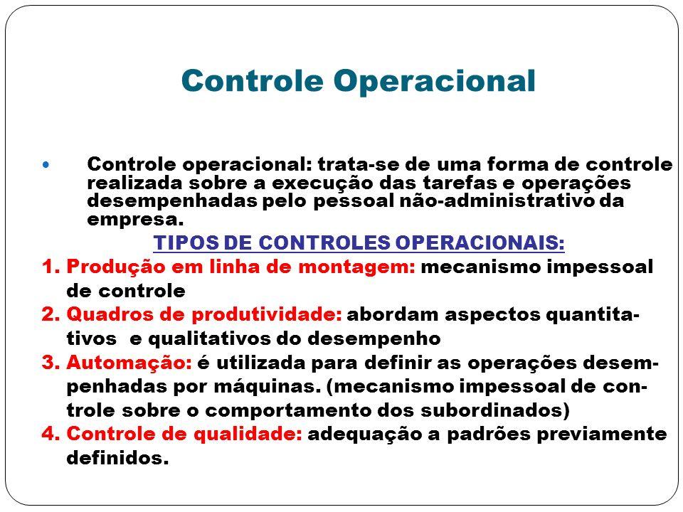 TIPOS DE CONTROLES OPERACIONAIS: