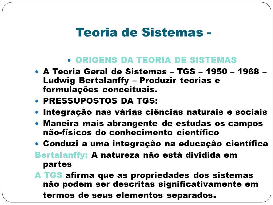ORIGENS DA TEORIA DE SISTEMAS