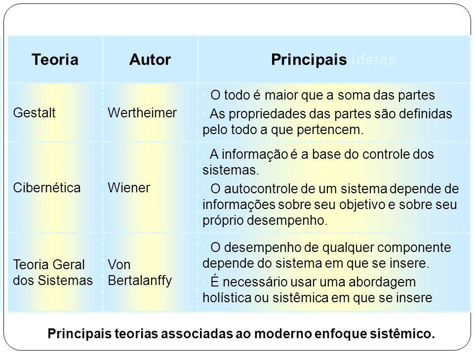 Principais teorias associadas ao moderno enfoque sistêmico.