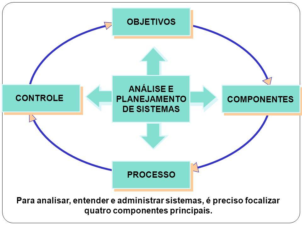 OBJETIVOS ANÁLISE E. PLANEJAMENTO. DE SISTEMAS. CONTROLE. COMPONENTES. PROCESSO.
