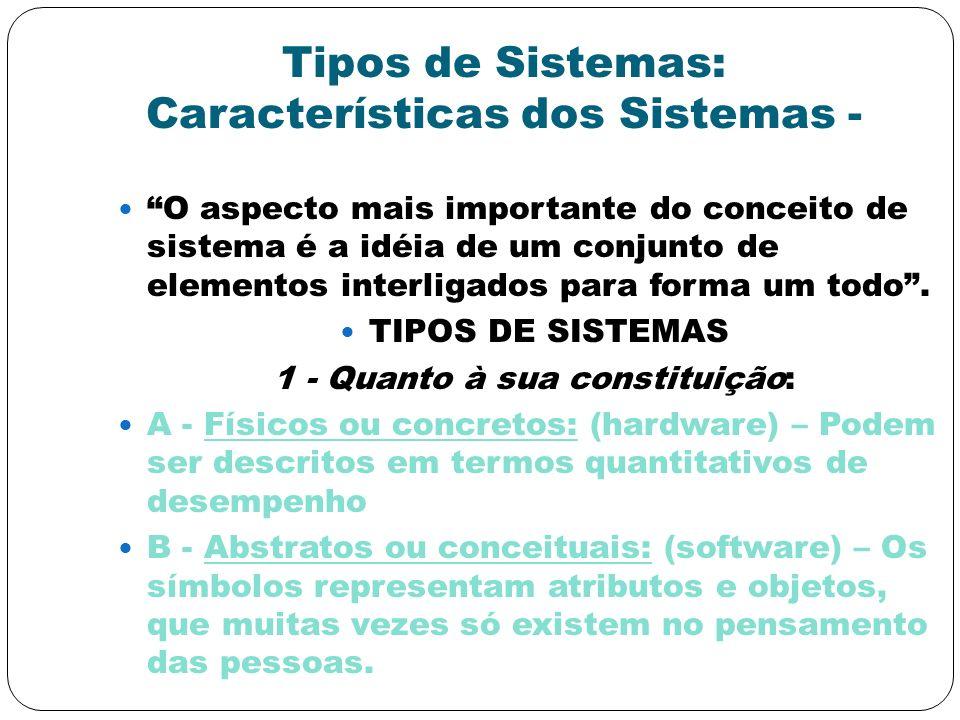 Tipos de Sistemas: Características dos Sistemas -